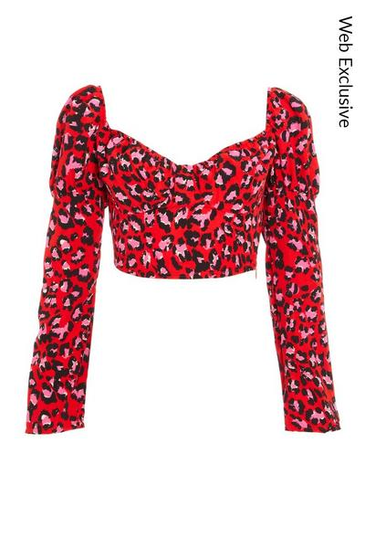 Red Leopard Print Puff Sleeve Top
